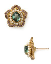 Carolee | Green Candy Girl Floral Button Earrings | Lyst