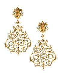 Jose & Maria Barrera - Metallic Scroll Chandelier Clip Earrings - Lyst