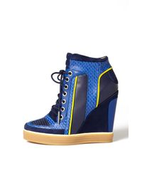 L.A.M.B. | Blue Summer High Top Wedge Sneaker | Lyst