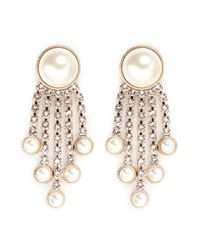 Valentino | White Pearl And Strass Dangle Earrings | Lyst