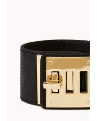 Forever 21 | Black Secret Rebel Faux Leather Bracelet | Lyst