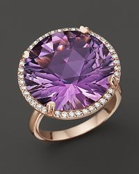 Lisa Nik | Purple Amethyst and Diamond Ring in 18k Rose Gold | Lyst