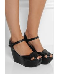 Marni - Black Leather Wedge Sandals - Lyst