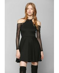 b6447d8ce4 Lyst - Urban Outfitters Oh My Love Mesh Cold Shoulder Skater Dress ...