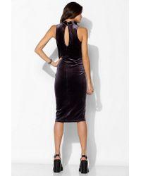 Urban Outfitters | Purple Velvet Mock Neck Bodycon Dress | Lyst