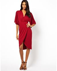 ASOS - Red Midi Dress With Kimono Sleeve - Lyst