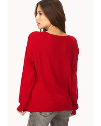 Forever 21 - Red Less Is More Sweater - Lyst