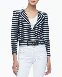 Rachel Zoe | Blue Brando Cropped Belted Jacket | Lyst