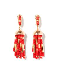 Aurelie Bidermann | Orange Positano Tassel Earring with Coral Resin | Lyst