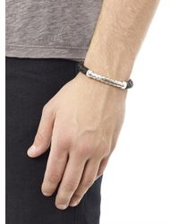 Bottega Veneta - Black Intrecciato Woven Leather Silver Bracelet for Men - Lyst