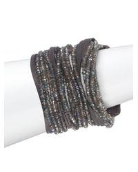 Brunello Cucinelli | Gray Leather Labradorite Multistrand Cuff Bracelet | Lyst