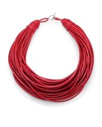 Brunello Cucinelli - Red Patent Leather Cord Multistrand Necklace for Men - Lyst