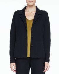 Eileen Fisher - Blue Silk-Cotton Interlock Notch-Collar Jacket - Lyst