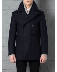 Farrell | Blue Doublebreasted Naval Peacoat for Men | Lyst