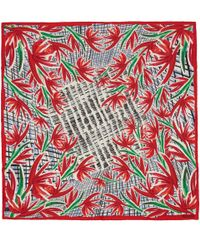 KENZO - Red Swimming Pool Print Silk Scarf - Lyst