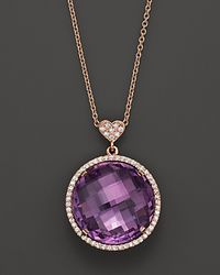 Lisa Nik | Metallic 18k Rose Gold Amethyst and Diamond Necklace 18 | Lyst