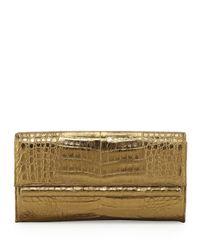 Nancy Gonzalez - Metallic Crocodile Front Flap Bar Clutch Bag - Lyst