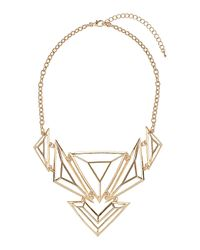 TOPSHOP - Metallic Cut Out Triangle Necklace - Lyst