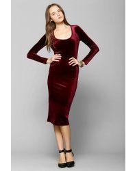 Urban Outfitters | Red Glamorous Longsleeve Velvet Midi Dress | Lyst
