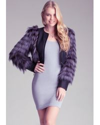 Bebe | Purple Shaggy Crop Jacket | Lyst