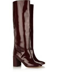 Chloé | Purple Glossedleather Knee Boots | Lyst