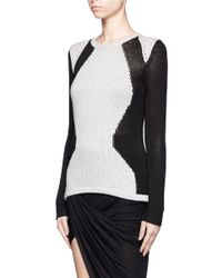 Helmut Lang - Gray Colour-blocked Sweater - Lyst