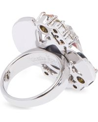 kate spade new york - Metallic Frosty Floral Ring - Lyst