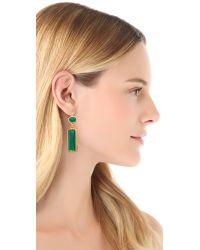 Kenneth Jay Lane - Green Crystal Drop Earrings - Lyst