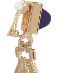 Kenneth Jay Lane - Red Goldplated Resin and Crystal Clip Earrings - Lyst