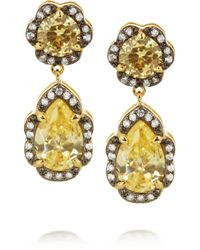 Kenneth Jay Lane | Brown Rhodium-plated Cubic Zirconia Drop Earrings | Lyst