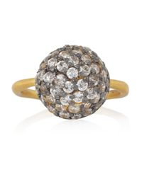 Kevia - Metallic Goldplated Cubic Zirconia Ring - Lyst