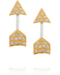 Kevia Metallic Silverplated Goldplated and Cubic Zirconia Earrings