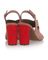 Marni | Red Twotone Suede Sandals | Lyst