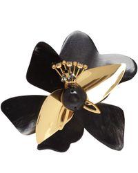 Marni - Black Horn Flower Brooch - Lyst