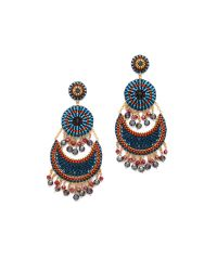 Miguel Ases - Blue Beaded Tier Earrings - Lyst