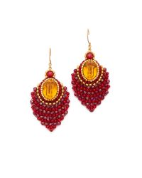 Miguel Ases - Red Center Gemstone Earrings - Lyst