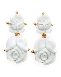 Oscar de la Renta | White Resin Rose Clip Earrings | Lyst