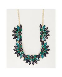 Sparkling Sage - Green Blue And Teal Crystal Floral Statement Necklace - Lyst