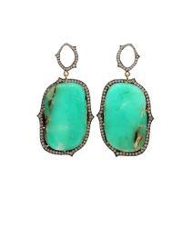 Sylva & Cie - Green Chrysoprase Slice Diamond Earrings - Lyst