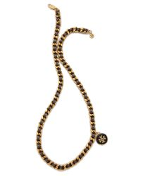 Tory Burch | Black Metallic Leather and Chain Necklace | Lyst