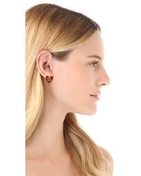Tory Burch | Red Tilsim Logo Heart Stud Earrings | Lyst