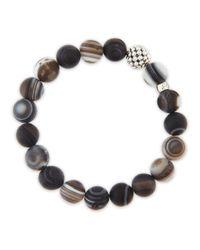Lagos - Brown Caviarball Black Agate Beaded Stretch Bracelet - Lyst
