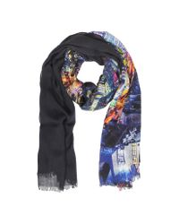 Moschino - Blue Multicolor Printed Viscose and Wool Stole - Lyst