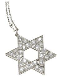 Olivia Collings - Metallic Star Of David Platinum Diamond Necklace - Lyst