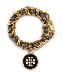 Tory Burch | Metallic Leather and Chain Double Wrap Bracelet | Lyst