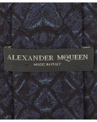Alexander McQueen | Blue Navy Snakeskin Print Silk Tie for Men | Lyst