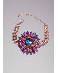 Bebe - Metallic Floral Inspired Bracelet - Lyst