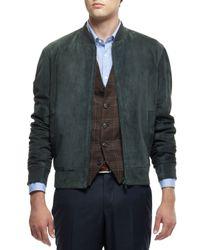 Brunello Cucinelli - Green Suede Bomber Jacket for Men - Lyst