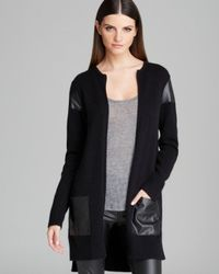 DKNY | Black Cardigan with Faux Leather Detail | Lyst