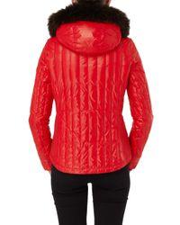HUNTER - Red Short Fur Trim Down Coat for Men - Lyst